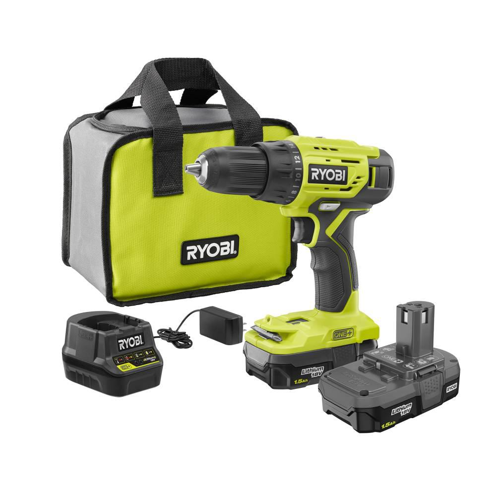 RYOBI 18-Volt ONE+ Lithium-Ion Cordless 1/2 in. Drill/Driver Kit with (2) 1.5  Ah Batteries, Charger, and Bag-P215K1 - The Home Depot