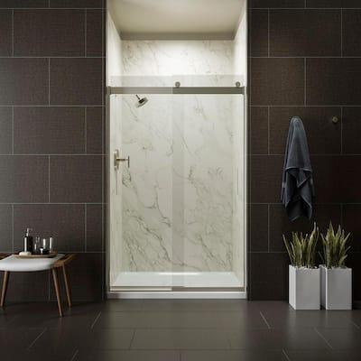 Levity 48 in. x 74 in. Frameless Sliding Shower Door in Nickel with Handle