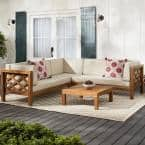 Willow Glen Farmhouse Wood Outdoor Patio Sectional Sofa with Teak Finish, Beige Cushions, and Coffee Table