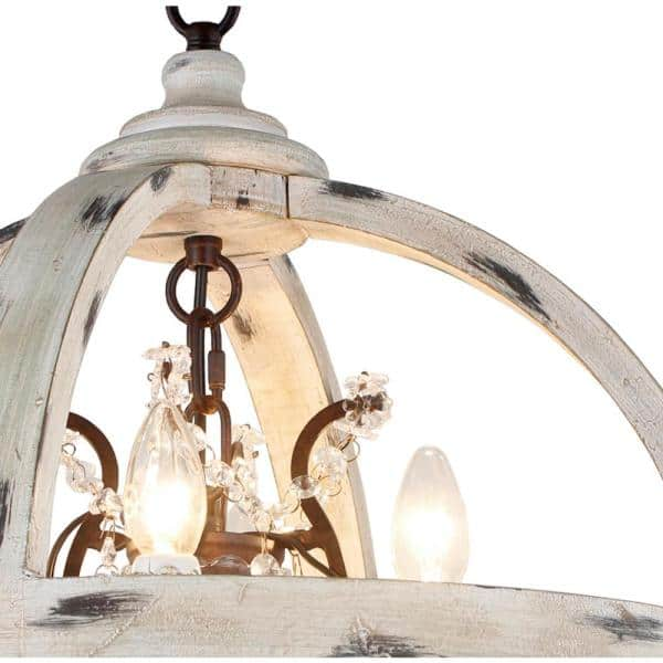 4 Light Withered White Wood Candle, Gas Light Style Chandelier
