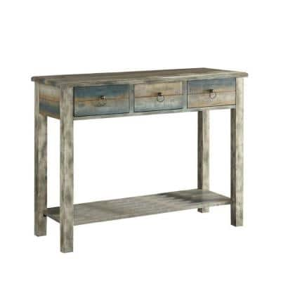 Amelia 42 in. Antique White/Teal Standard Rectangle Wood Console Table with Drawers