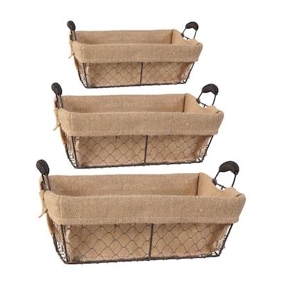 Joyce Canvas Cloth Baskets Brown (Set of 3)
