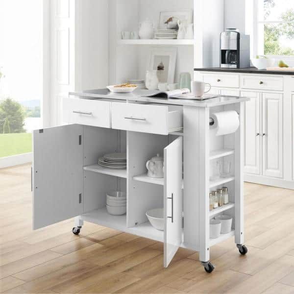 Crosley Furniture Savannah White With Stainless Steel Top Full Size Kitchen Island Cf3029ss Wh The Home Depot