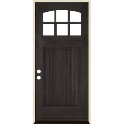 36 in. x 80 in. Craftsman 6 Lite V Groove Arch Top Black Stain Right-Hand/Inswing Douglas Fir Prehung Front Door