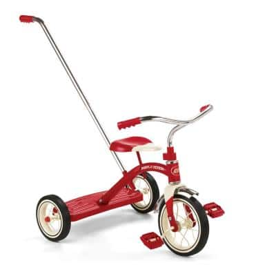Classic Steel Framed Tricycle with 3-Position Push Handle, Red