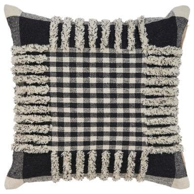 Eclectic Black Striped Hypoallergenic Polyester 18 in. x 18 in. Throw Pillow