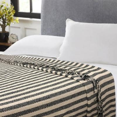 Jay Black and White Twin Cotton Blanket