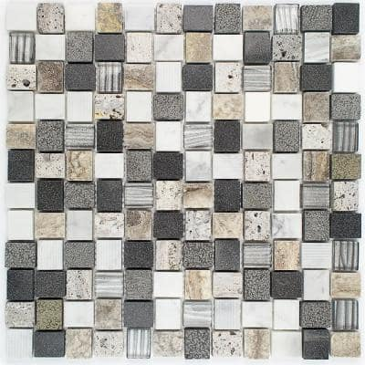 Drumlin Stratus Hexagon 11.25 in. x 10.87 in. x 8mm Honed Marble and Glass Mosaic Tile