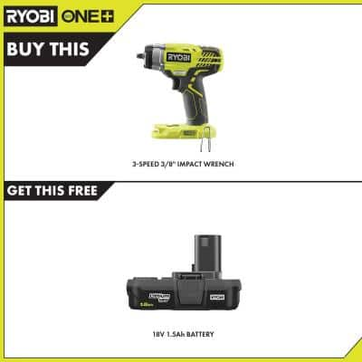 ONE+ 18V Cordless 3/8 in. 3-Speed Impact Wrench with 1.5 Ah Compact Lithium-Ion Battery