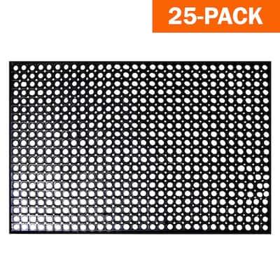 Indoor/Outdoor Durable Anti-Fatigue 36 in. x 60 in. Industrial Commercial Restaurant Rubber Floor Mat in Black (25-Pack)