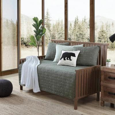 Troutdale Solid 4-Piece Green Cotton Bonus Daybed Set