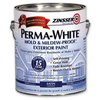 Perma-White 1 gal. Mold & Mildew-Proof White Satin Exterior Paint (4-Pack)