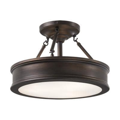 Grafton 3-Light Hallmark Bronze Semi Flush Mount Ceiling Light