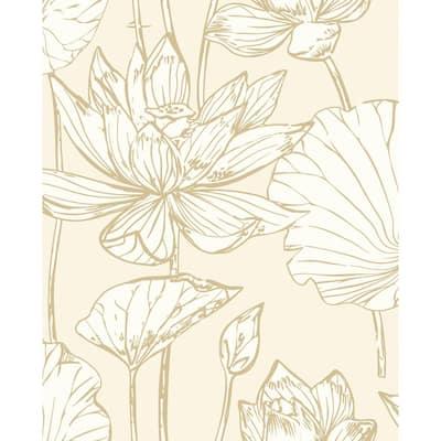 Lotus Metallic Gold And Cream Floral Vinyl Peel & Stick Wallpaper Roll (Covers 30.75 Sq. Ft.)