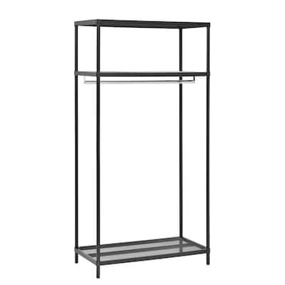 3-Shelf Black Steel Clothes Rack (36 in. W x 71 in. H)