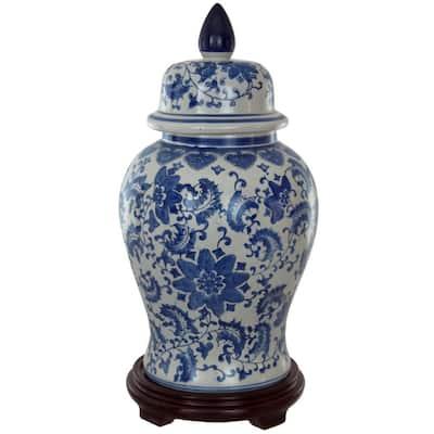 18 in. Porcelain Decorative Vase in Blue