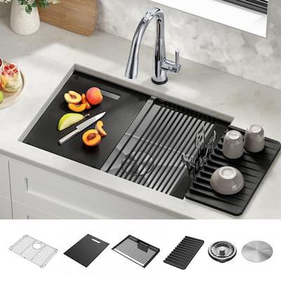 Rivet 16 Gauge Stainless Steel 27 in. Single Bowl Undermount Workstation Kitchen Sink with Accessories