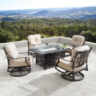 Canyon Luxurious Antique Copper 5-Piece Aluminum Patio Fire Pit Deep Seating Set with Tan Beige Cushions