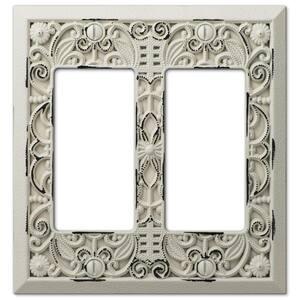 Filigree 2 Gang Rocker Metal Wall Plate - White