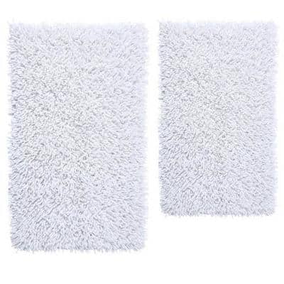 Chenille Shaggy White 21 in. x 34 in. and 24 in. x 40 in. Bath Rug Set (2-Piece)