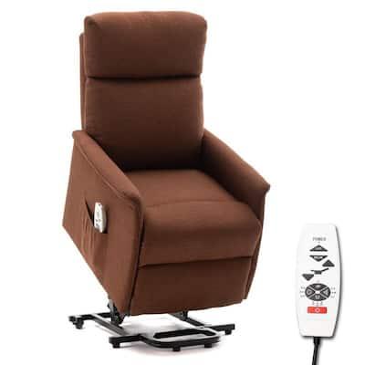 Abeale Brown Reclining Heated Power Lift Recliner Zero Gravity Full Body Massage Chair