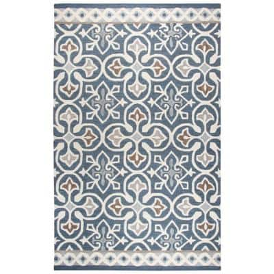 Lavine Blue/Ivory 10 ft. x 13 ft. Hand Tufted Wool Area Rug