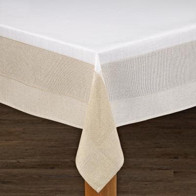 Bohemia 60 in. x 104 in. White/Natural 100% Polyester Tablecloth