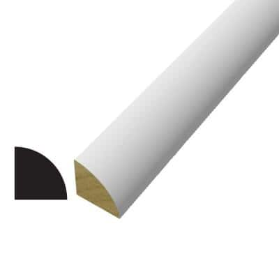 WM 105 3/4 in. x 3/4 in. x 96 in. Poplar Wood Painted White Finger-Jointed Quarter Round Moulding