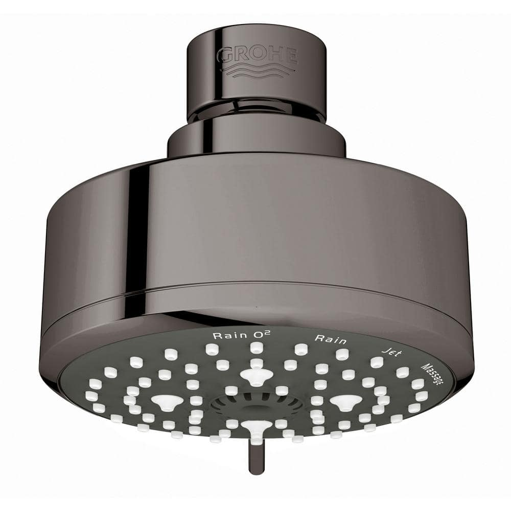 Grohe Tempesta 4 Spray 3 9 In Single Wall Mount Fixed Rain Shower Head In Hard Graphite 26043a01 The Home Depot