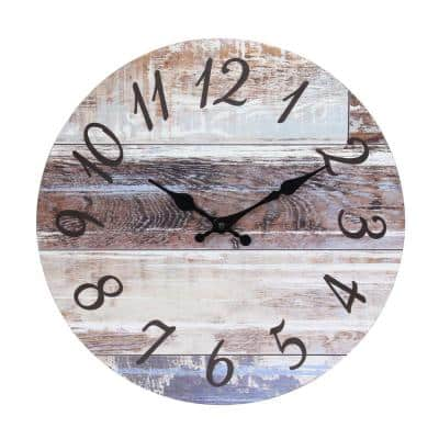 Brown Vintage Farmhouse 14 Inch Round Hanging Battery Operated Wall Clock