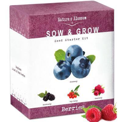 Fruit Growing Kit Complete Set to Grow 4 Types of Berries From Seed, Planting Pots, Soil and Guide Included