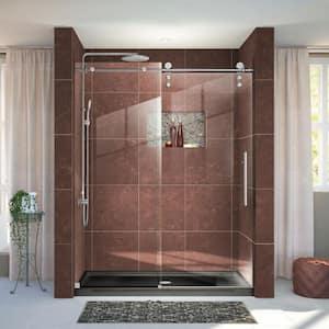 Enigma-Z 56 in. to 60 in. x 76 in. Frameless Sliding Shower Door in Brushed Stainless Steel