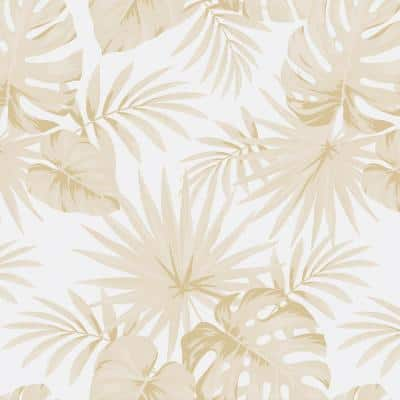 Palms Light Brown/Cream Texture Vinyl Non-Woven Strippable Roll Wallpaper (Covers 59.2 sq. ft.)