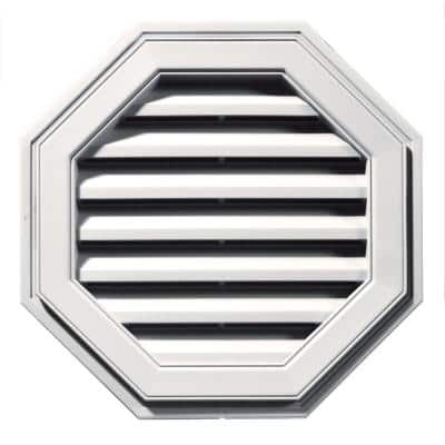 22 in. x 22 in. Octagon White Plastic UV Resistant Gable Louver Vent