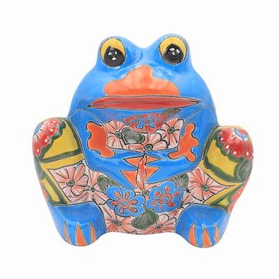 Talavera 10 in. Multi-Colored Ceramic Frog Planter