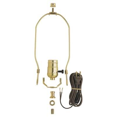 Brass DIY Make-A-Lamp Kit with 3-Way Turn Knob Lamp Socket