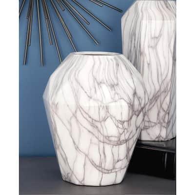 White Stoneware Contemporary Decorative Vase
