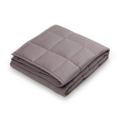 72 in. L x 48 in. W, 12 lbs. Gray Cotton Shell Quilted Weighted Blanket with Polyester Filling
