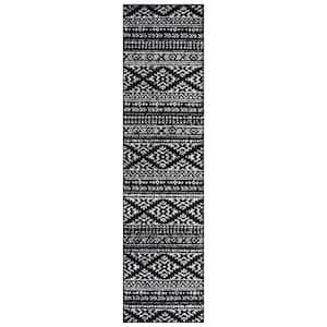 Tulum Black/Ivory 2 ft. x 17 ft. Runner Rug