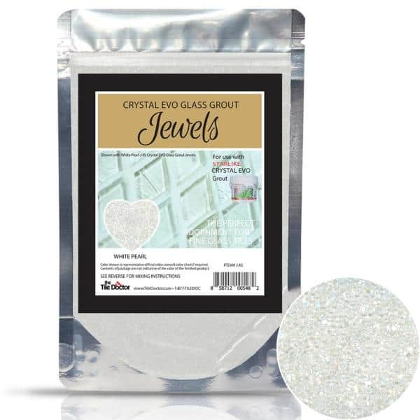 crystal glass grout jewels white pearl 75 grams 1 pack