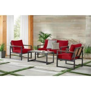 West Park 4-Piece Black Aluminum Outdoor Patio Conversation Set with CushionGuard Chili Red Cushions