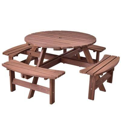 8-Seat Wood Patio Picnic Dining Seat Bench Set