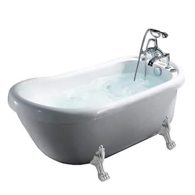 66.9 in. Acrylic Clawfoot Whirlpool Bathtub in White
