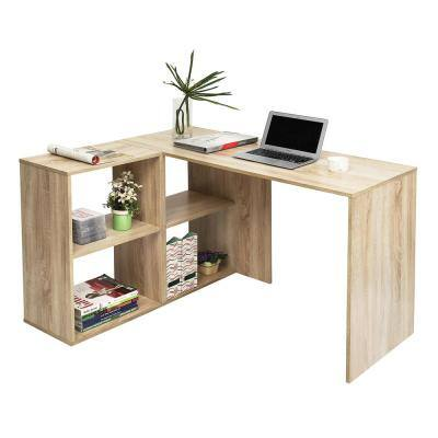 Ivory L-Shape Computer Desk MDF Wood Shelves Storage Bookcase
