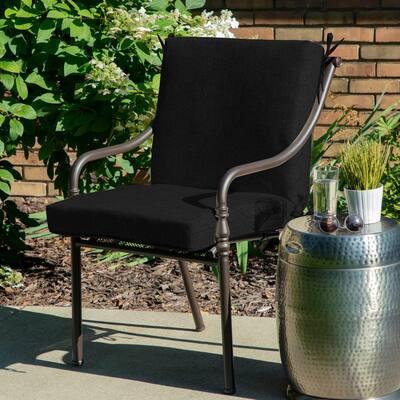 Oak Cliff 22 x 40 Sunbrella Canvas Black Mid Back Outdoor Dining Chair Cushion