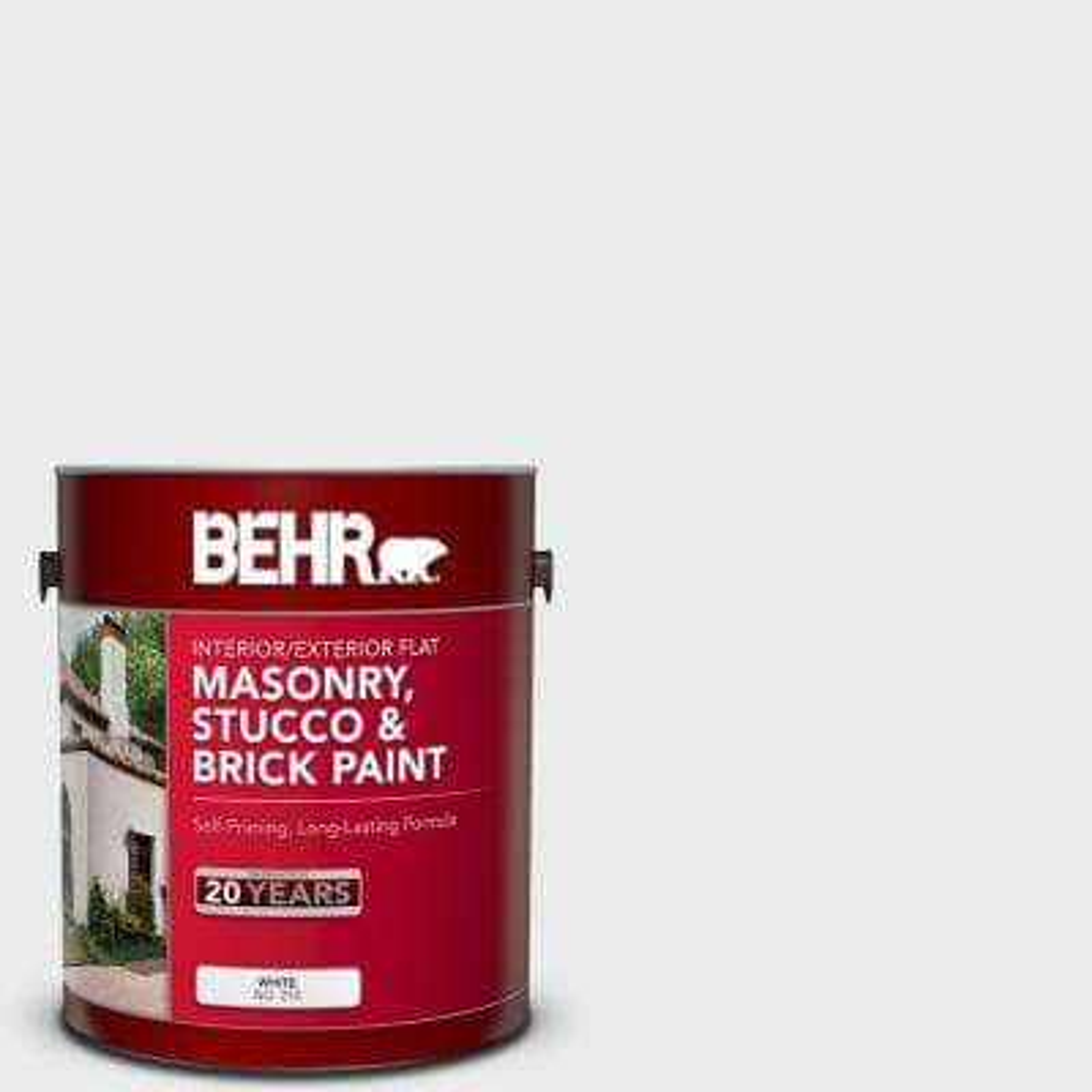 1 gal. #BWC-12 Vibrant White Flat Interior/Exterior Masonry, Stucco and Brick Paint