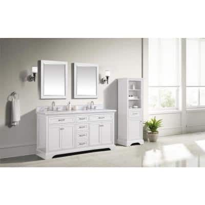 Windlowe 73 in. W x 22 in. D x 35 in. H Bath Vanity in White with Carrara Marble Vanity Top in White with White Sink