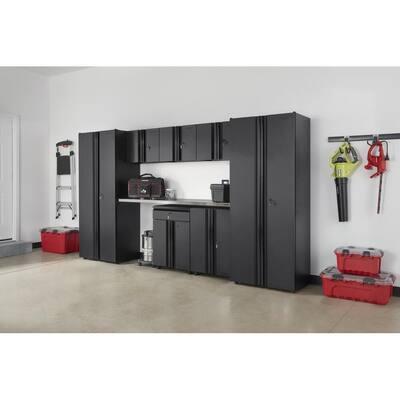 8-Piece Regular Duty Welded Steel Garage Storage System in Black (133 in. W x 75 in. H x 19 in. D)