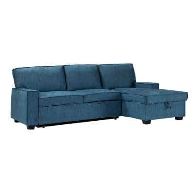 Zavier Indigo Pull Out Sleeper Sectional