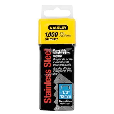 1/2 in. Heavy Duty Stainless Steel Narrow Crown Staples (1000-Pack)